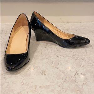 """Cole Haan 2 1/4"""" black patent wedge heels"""